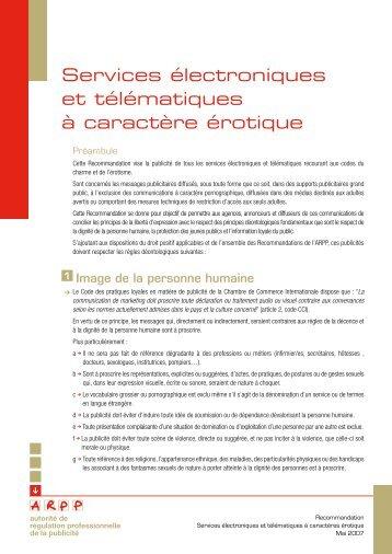 Services électroniques et télématiques à caractère érotique - ARPP