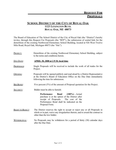 request for proposals school district of the city of royal oak