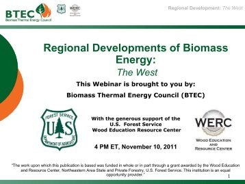 Regional Developments of Biomass Energy: - Biomass Thermal ...