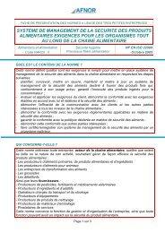 Alimentaire Fiche NF EN ISO 22000 (octobre 2005)