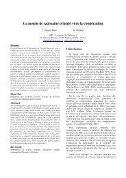 Un modèle de rationalité orienté vers la coopération - Inra