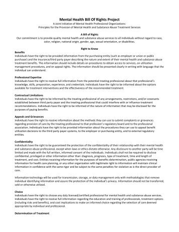 Mental Health Patient Bill of Rights - Ohio Psychological Association