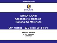 EUROPLAN II Guidance to organise National Conferences - Eurordis