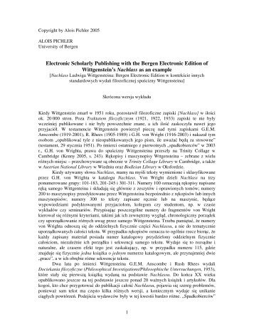 Electronic Scholarly Publishing with the Bergen Electronic Edition of ...