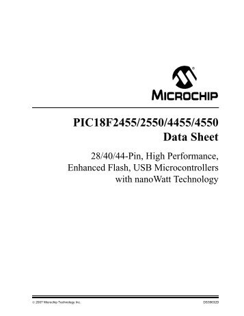 Pic18f2455/2550/4455/4550 data sheet microchip.