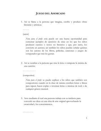 Juego del ahorcado - Nota para profes (PDF) - Cerlalc