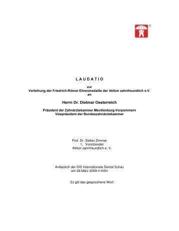 Prof. Zimmer hält Laudatio zu Verleihung - Aktion zahnfreundlich e.V.