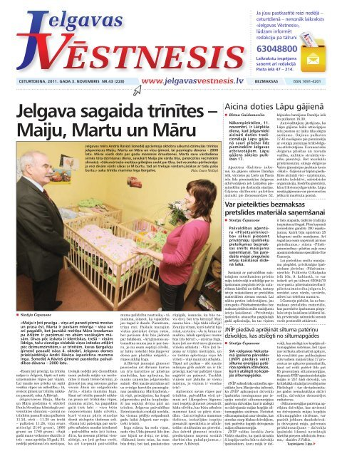 2011.gada 3.novembris Nr.43(228) - Jelgavas Vēstnesis