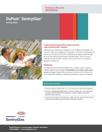 DuPont SentryGlas Weathering - Curbell Plastics