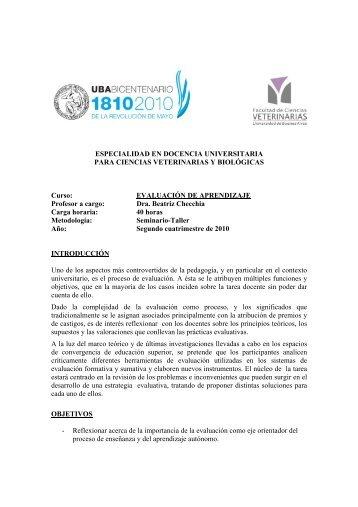 Evaluación del aprendizaje - Facultad de Ciencias Veterinarias