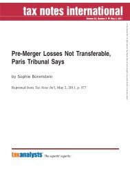 Pre-Merger Losses Not Transferable, Paris Tribunal ... - Reed Smith