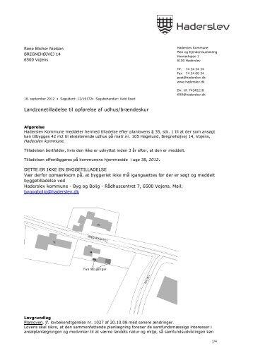 Landzonetilladelse til opførelse af udhus/brændeskur - Haderslev ...
