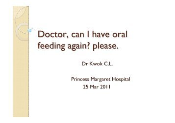 Doctor, Can I have oral feeding again, Please