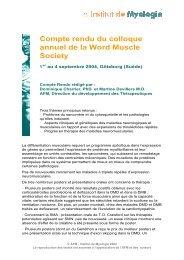 Compte rendu du colloque annuel de la Word Muscle Society
