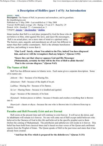 The Religion of Islam - A Description of Hellfire (All parts)
