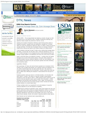 DTN/The Progressive Farmer: Agriculture Markets, News and Weather