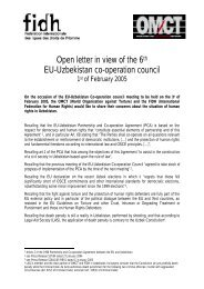 Open letter in view of the 6th EU-Uzbekistan co-operation council