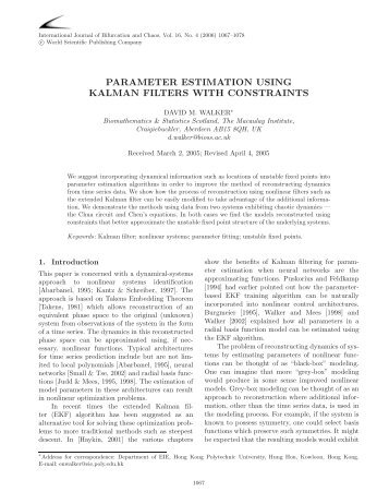 parameter estimation using kalman filters with constraints