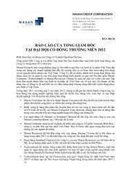 báo cáo của tổng giám đốc tại đại hội cổ đông ... - Masan Group