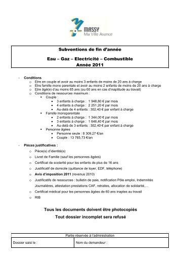 SUBVENTION EAU-GAZ-ELECTRICITE-COMBUSTIBLE - Massy