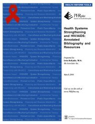 Health Systems Strengthening and HIV/AIDS: Annotated ... - PHRplus