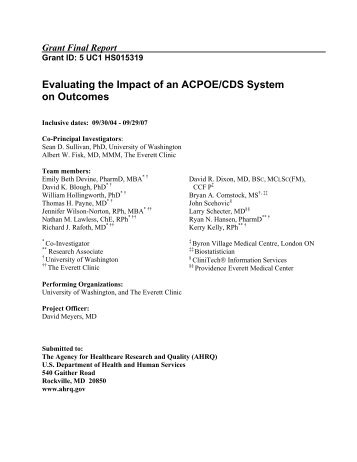 Evaluating the Impact of an ACPOE/CDS System on Outcomes