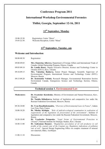 Conference Program 2011 International Workshop ... - ISTC