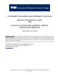 university of maryland university college faculty & staff engagement ...