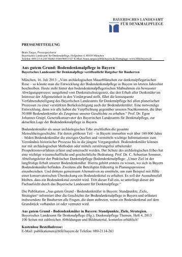 Aus gutem Grund: Bodendenkmalpflege in Bayern - Bayerisches ...