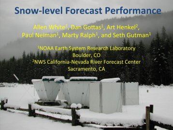 Performance measure for snow level & Next Steps (A. White)