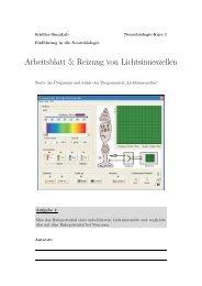 Arbeitsblatt 5: Reizung von Lichtsinneszellen