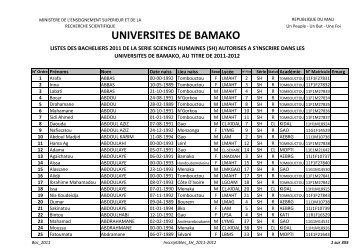 UNIVERSITES DE BAMAKO - Universités de Bamako