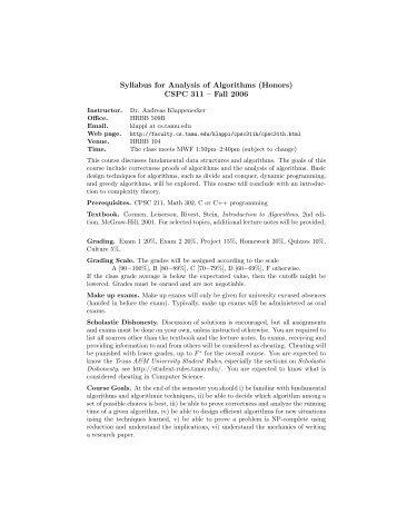 Syllabus for Analysis of Algorithms (Honors) CSPC 311 - TAMU ...