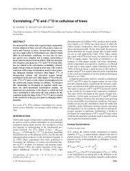 Correlating δ13 C and δ18 O in cellulose of trees