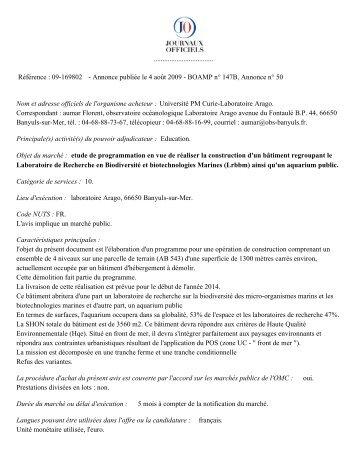 Voir la version pdf de l'annonce. - Observatoire Océanologique de ...