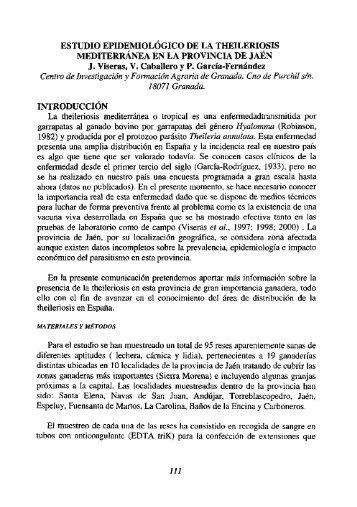 """(2000): """"Estudio epidemiológico de la Theileriosis Mediterránea en"""