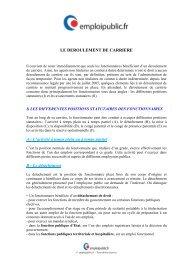 Le déroulement de carrière - Emploipublic.fr