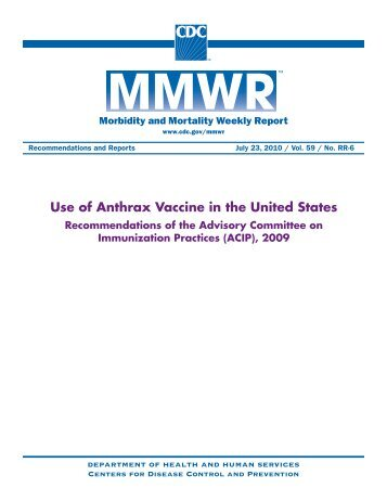 Use of Anthrax Vaccine in the United States - The INCLEN Trust