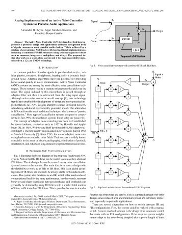 Analog implementation of an active noise controller ... - IEEE Xplore