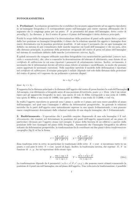La relazione geometrica che si stabilisce fra un punto appartenente ...