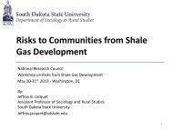 Risks to Communities from Shale Gas Development
