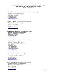 Institutional Biosafety Committee (IBC) Members – 2010 ... - Nemours