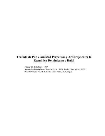 Tratado de Paz y Amistad Perpetuas y Arbitraje entre la República ...