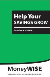 Help Your Savings Grow - Leader's Guide - Consumer Action