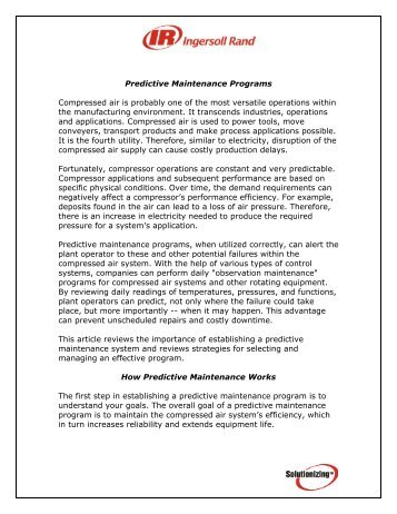 Predictive Maintenance Guidelines