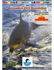 Dolphin Underwater & Adventure Club December 2011 Newsletter
