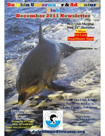 Dolphin Underwater & Adventure Club December 2011 Newsletter