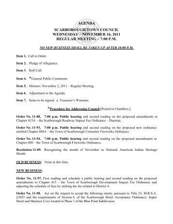 november 16, 2011 regular meeting – 7:00 pm - Town of Scarborough