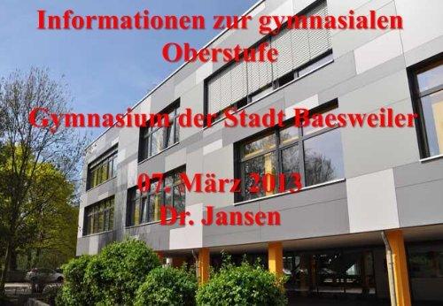 Informationen für Realschüler zur gymnasialen Oberstufe