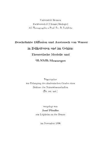 Prof. Dr. D. Lei)fritz BeschrÅankte Diíusionund òustausc